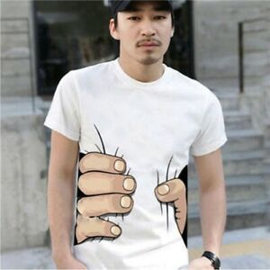 HOT-NEW-Men-039-s-Fashion-3D-Printed-T-shirt-Big-Hand-Funny-Sleeve-Short-Tee-Shirt