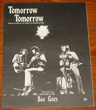 THE BEE GEES ~ TOMORROW TOMORROW ~ RARE ORIGINAL UK SONG MUSIC LYRIC SHEET 1969