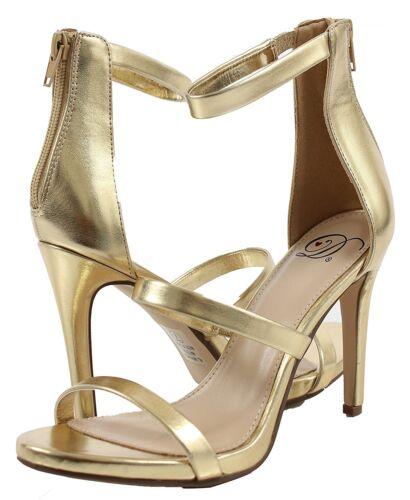 """Women/'s gold heels with zipper fastening 4.5/"""" Heel"""