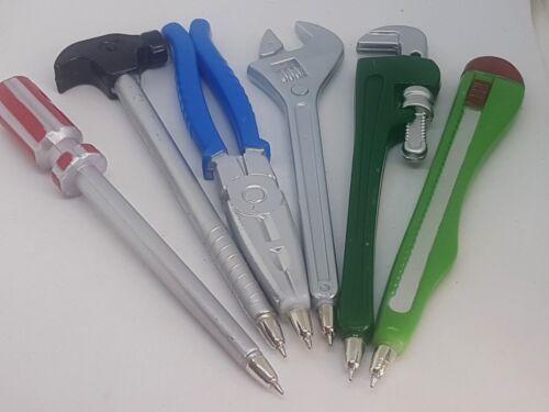 6 Kugelschreiber Set für Handwerker Schraubendreher Hammer mit Magnet Zange