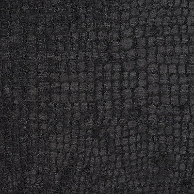 A0151r Black Textured Alligator Shiny Woven Velvet Upholstery Fabric By The Yard Ebay