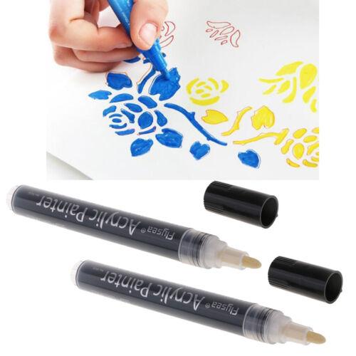 2x Acrylfarbe Marker Kunst Dauerhafte Malerei Metallglas Marker Stift Schwarz