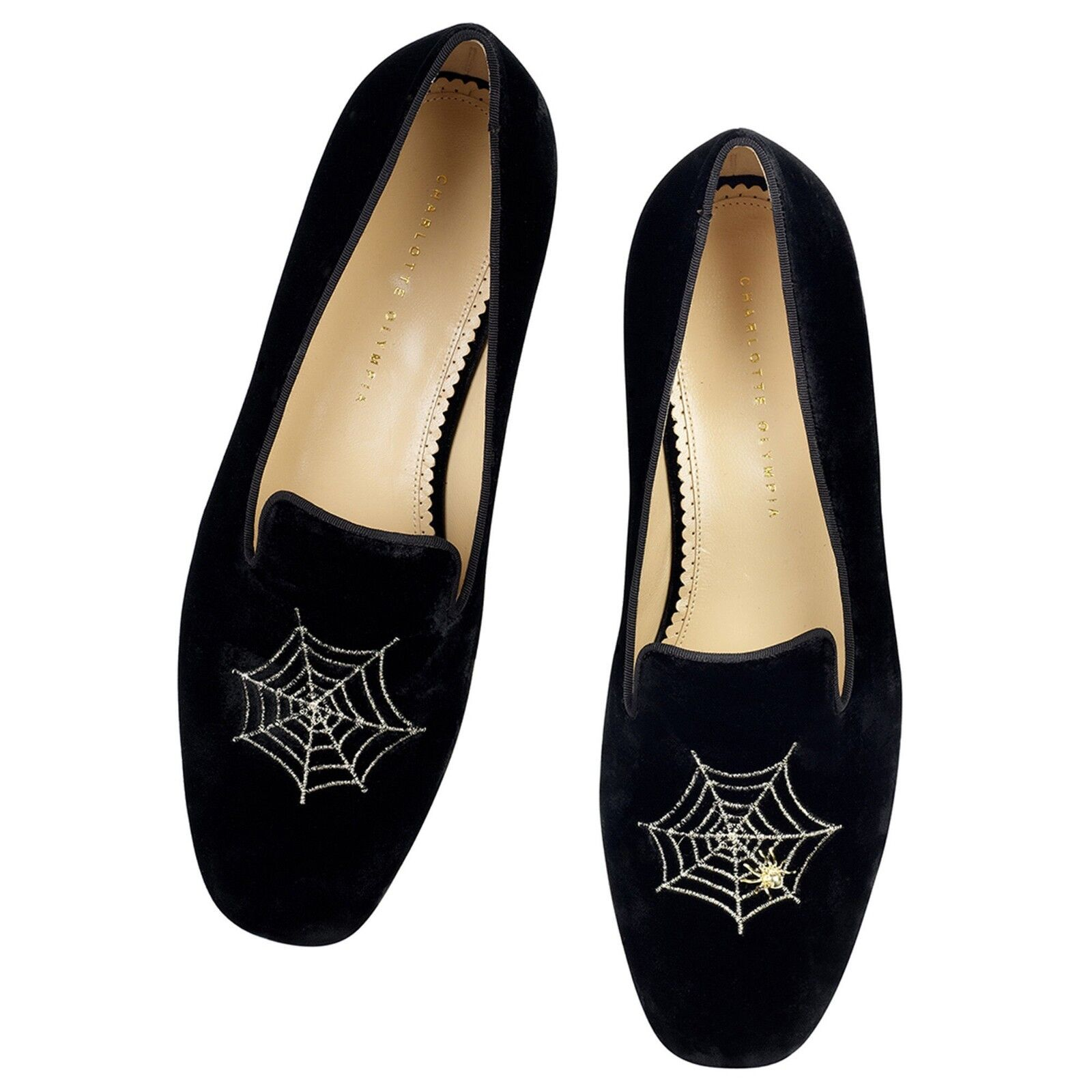 765 New Charlotte Olympia MENS CHARLOTTES WEB Velvet Embroidered Shoes 45