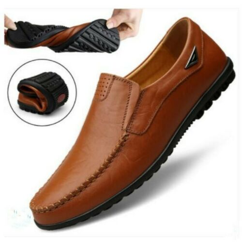 Men Faux Leather Round Toe Slip On Spring Solid British Korean Loafers Shoes New