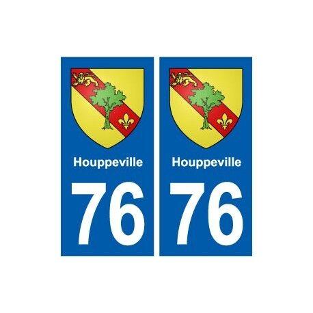 76 Houppeville blason autocollant plaque stickers ville -  Angles : droits