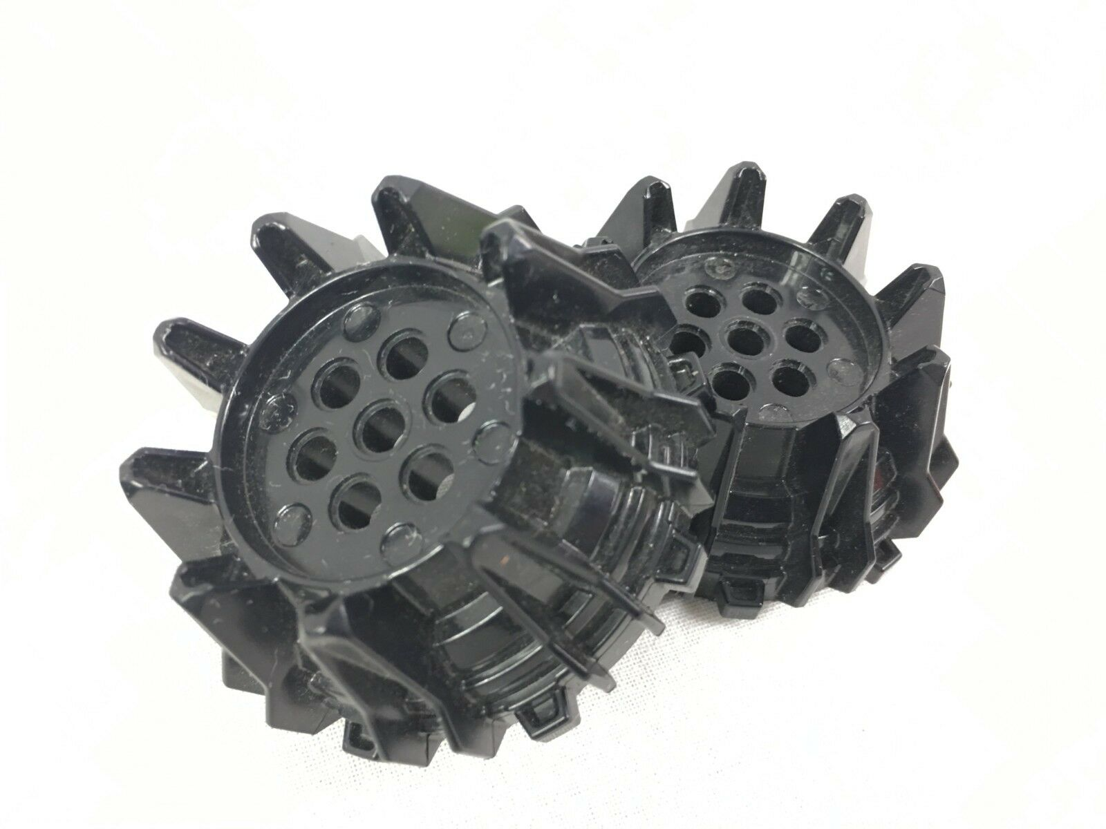 Set of 2 Large Black Wheels with Cleats /& Flanges Lego Parts 64712 Set 70321