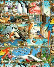 Cuarto gordo birdwatching, múltiples Bird Razas 100% Algodón, Colchas de retazos de tela