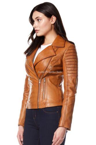 Tan Real Napa Designer Leather Style Fashion Ladies 100 9334 Biker Jacket qAx41n8E