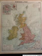 Orig. Landkarte von Großbritannien und Irland, Otto Herkt um 1912