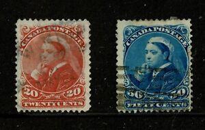 U0586 CANADA 1893 Queen Victoria 20c vermillion & 50c blue  used