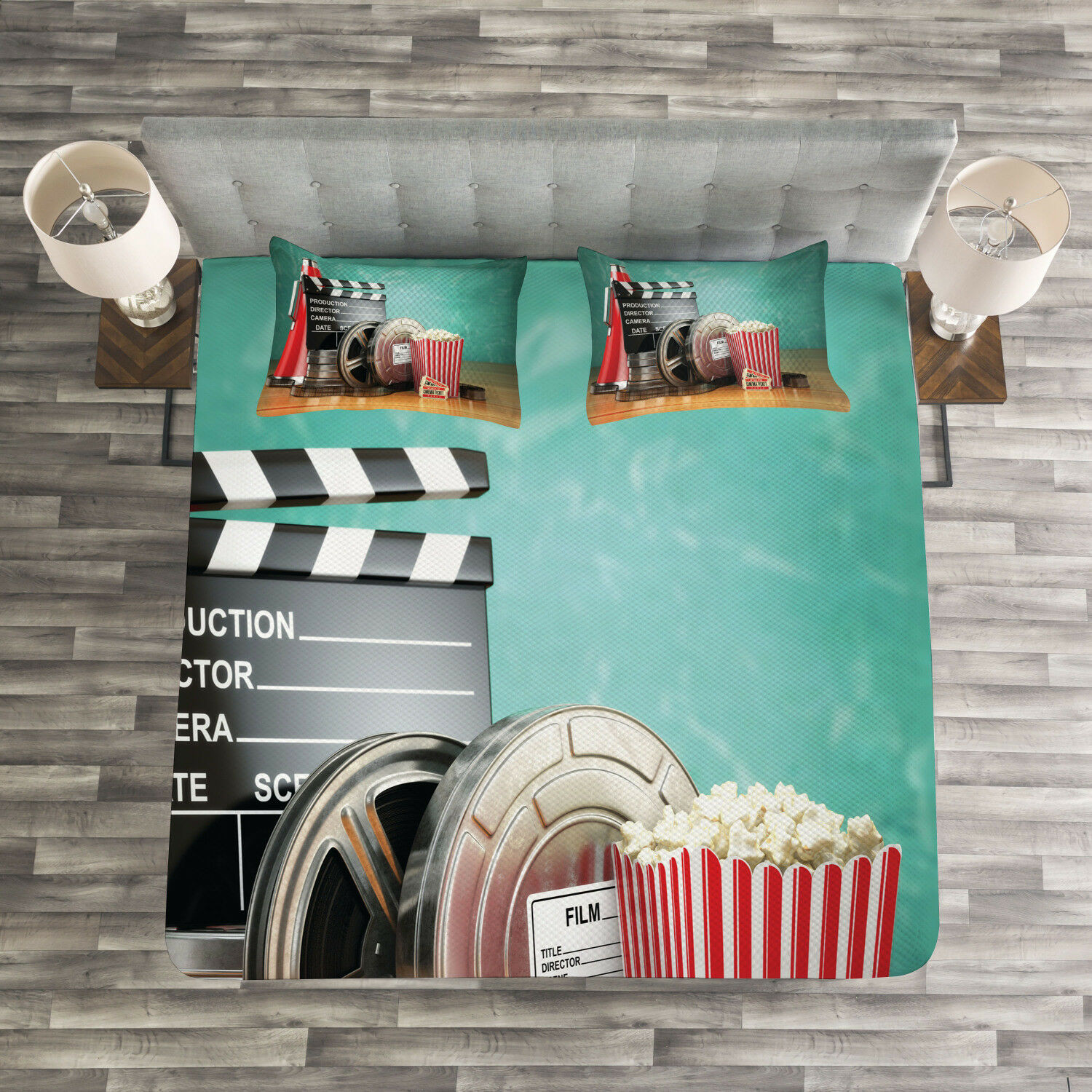 Movie Theater Quilted Bedspread & Pillow Shams Set, Production Theme Print