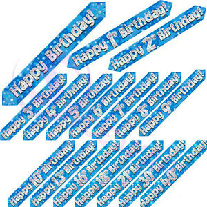 Blue-Holographic-Boys-Men-Age-Foil-Banners-Birthday-Party-9-Ft-Long-Banner