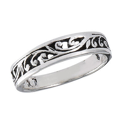 Viny Patterned 925 Silver Fashion Ring Size 5-10