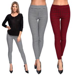 Women's High Waisted Grid Pattern Leggings Full Length Stretchy Trousers FS560