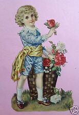 4v4: 26cm gr. Oblate Glanzbild elg. Rokoko Knabe Rosen Gratulant Blumenkorb~1890