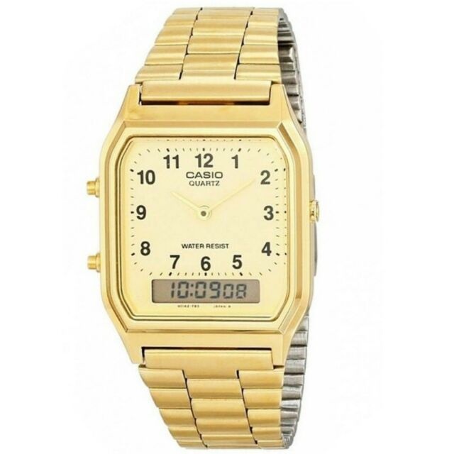 Casio AQ-230GA-9B Gold Retro Classic Dual Time Analog Digital Unisex Watch