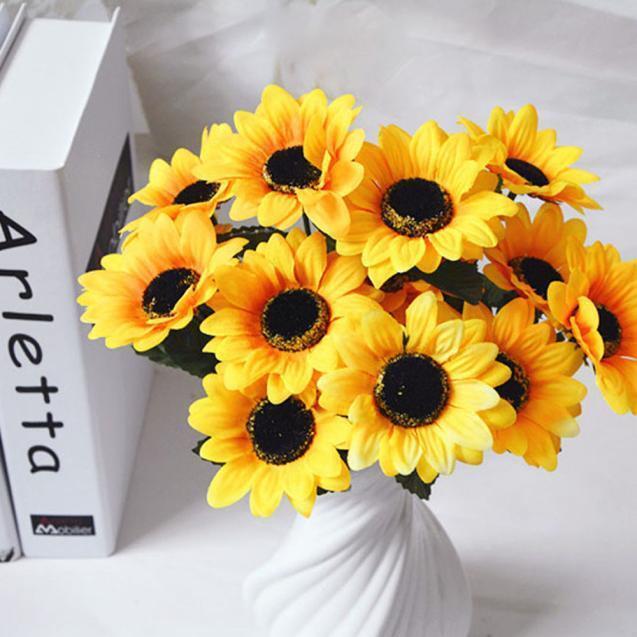 7 Heads Artificial Bouquet Fake Sunflower Silk Flower Home Wedding