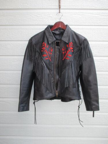 c in pelle pelle vera in da c frangia con motociclista vintage Giacca 1PqXx