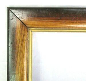 """ANTIQUE FIT 8""""x 9.75"""" OAK GOLD GILT PRIMITIVE PICTURE FRAME FINE ART VICTORIAN"""
