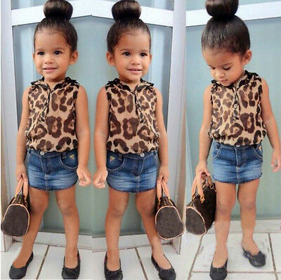 Baby Girls Clothing Set Leopard Shirt + Denim Blue Skirt 2 Pcs/Outfit Suit PT