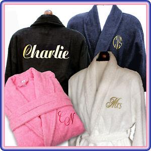 Personalised Name/Monogram 100% Cotton Bath Robe/Dressing Gown | eBay