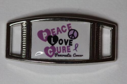 shoelace charm Peace Love Cure Pancreatic Cancer Rec 1 for paracord bracelets
