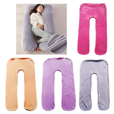 Comfort Flannel Body Maternity Pregnancy U Shape Pillow Cover Pillowcase