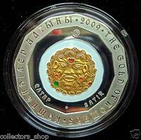 KAZAKHSTAN: 500 Tenge SATIR 2009 gilded silver 925 PROOF the Gold of Nomads