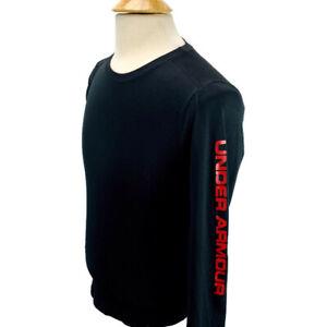 Under-Armour-UA-Boys-Youth-Long-Sleeve-Fitted-Heatgear-Layer-Shirt-Black-Red-YXL