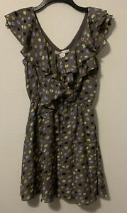 NWT BCBGeneration Gray Pebblestone Ruffle Neckline Dress SZ XXS MSRP $108.00