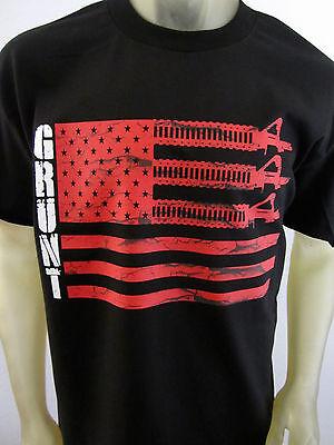 Grunt Company Flag AR-15 men's black tee shirt Guns USA USMC Freedom LARGE