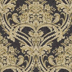 Wallpaper-Baroque-Floral-Damask-Wallpaper-Black-Bankground-with-Tan-Gray-Gold