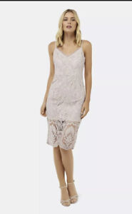 Forever New Gorgeous Blush Lara Lace Size 12 Double Lined Midi Dress RRP $159.99
