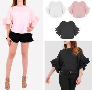 Women-New-Layered-Frill-Sleeves-Top-3-4-Sleeve-Black-White-Shirt-Blouse-UK
