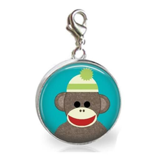 Sock Monkey Glass Top 20mm Clip On Charm Handcrafted Sock Monkey Lover Gift