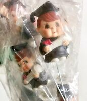 Vintage Graduation Boy Floral Bouquet Plastic Figurines Craft Pack Of 12