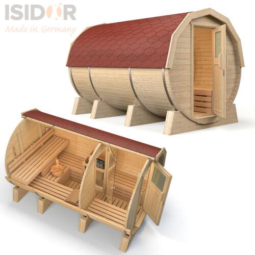 ISIDOR Fasssauna M3 Deluxe 3.60m Saunafass Tonnensauna Außensauna Gartensauna