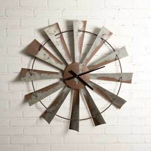 Windmill-Distressed-Metal-Clock-Vintage-Country-Primitive-Rustic-Wall-Clock