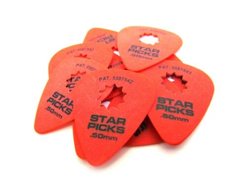 Everly Star Guitar Picks  12 Pack  .50mm  Super Grip  Red