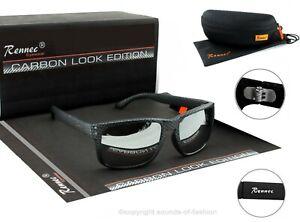 Rennec-Herren-Sonnenbrille-Schwarz-Carbon-Rechteckig-Silber-Verspiegelt-14CB-BOX