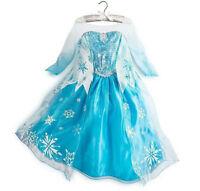 Frozen  Elsa  Dress  blue girls play costue    UK STOCK