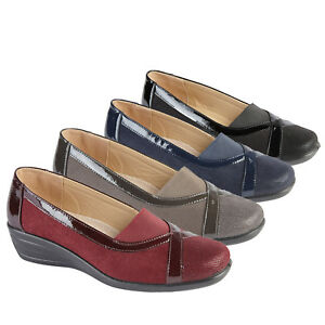 Ladies-Slip-on-Comfort-Shoes-Mid-Wedge-Heel-Casual-Pumps-Womens-Size-3-4-5-6-7-8