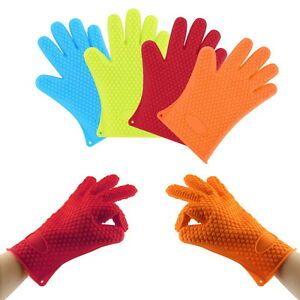 Heat-Resistant-Silicone-Glove-Oven-Pot-Holder-Baking-BBQ-Cooking-Mitts-SW