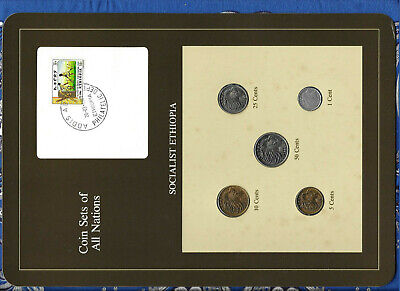 Coin Sets of All Nations Ethiopia wcard 50,25,10,5,1 cents 1977 UNC British Mint