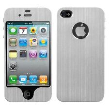 Silver brushedMETAL Decal Shield Phone Protector Case For APPLE iPhone 4 4S
