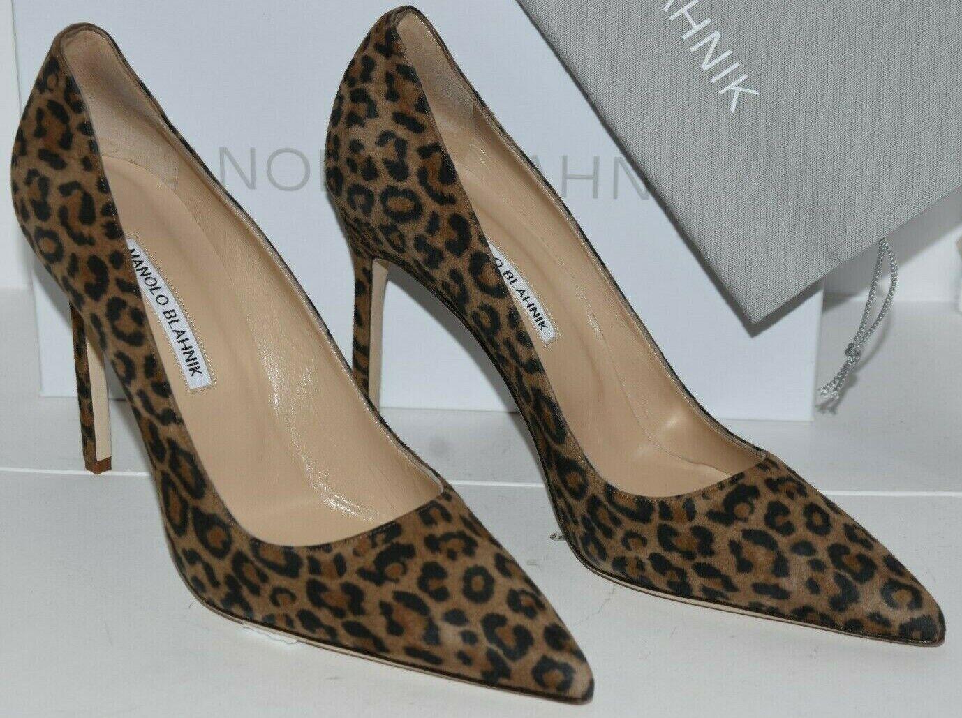 695 NEW Manolo Blahnik BB 105 Leopard Pumps Suede Beige Brown shoes  40 40.5