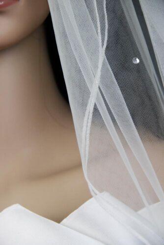 Off White 2 Tiers Fingertip Length  Scattered Rhinestones Bridal Veil Diamond