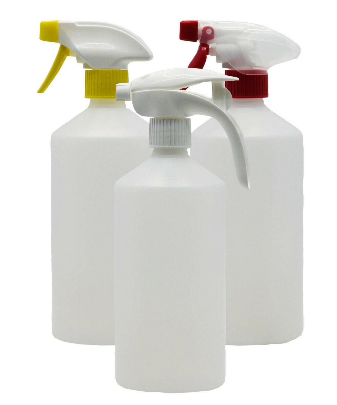 Empty Bottles - Natural Cylindrical HDPE - 750ml - 5 Pack - Various Spray Heads