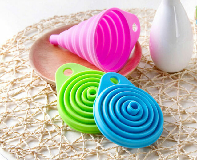 Silicone Gel Practical Foldable Collapsible Style Funnel Hopper Kitchen Tool TB