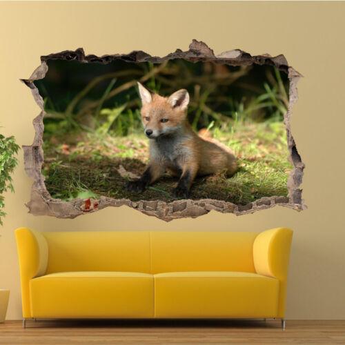 WILDLIFE CUTE FOX CUB WALL STICKERS 3D ART MURALS ROOM OFFICE POSTERS DECOR TC6